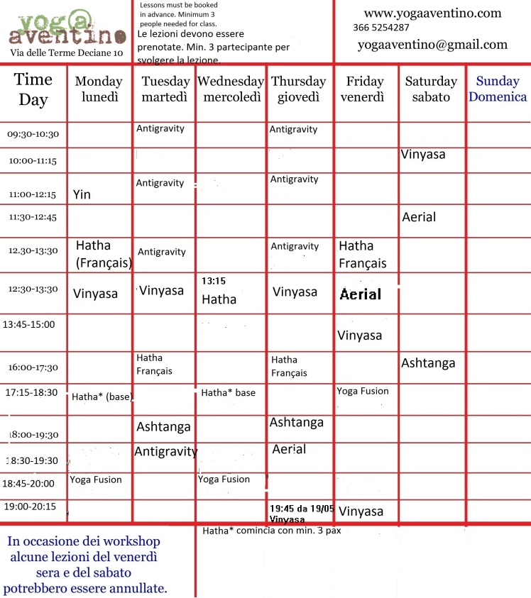 Timetable May